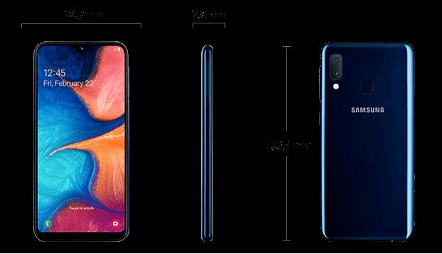 Dimensiuni  Samsung Galaxy A20e